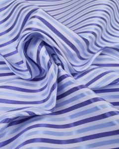Stretch Cotton Shirting Fabric - Satin Stripe Blue