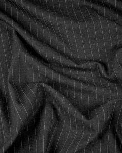 Virgin Wool Suiting Fabric - Charcoal Pinstripe