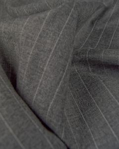 Virgin Wool Suiting Fabric - Grey Pinstripe