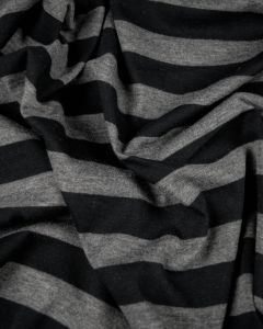 Polyester Blend Jersey Fabric - Black & Grey Stripe