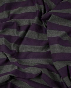 Polyester Blend Jersey Fabric - Purple & Grey Stripe