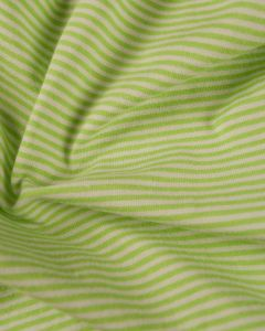 Cotton Blend Jersey Fabric - Fine Stripe Lime