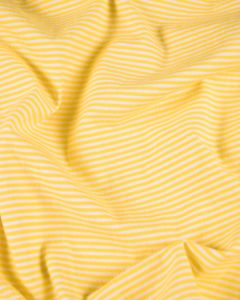 Cotton Blend Jersey Fabric - Fine Stripe Yellow