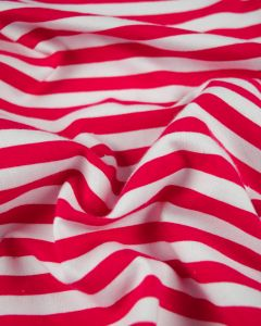 Cotton Blend Jersey Fabric - Hot Pink Stripe