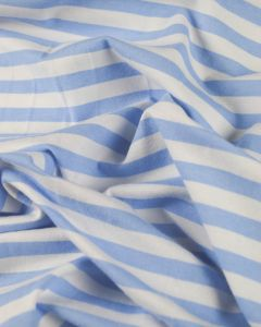 Cotton Blend Jersey Fabric - Blue Stripe