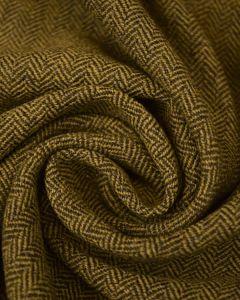 Wool Herringbone Tweed Fabric - Chartreuse & Moss Green