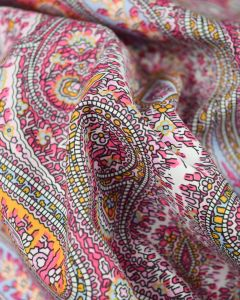 Cotton Lawn Fabric - Pink Multi Paisley