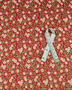 Cotton Lawn Fabric - Retro Floral Red