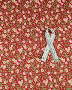Cotton Lawn Fabric - Retro Floral Red