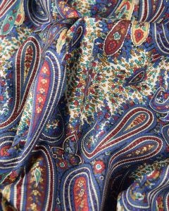 Cotton Lawn Fabric - Blue Multi Paisley
