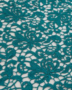 Polyester Guipure Lace Fabric - Peacock Floral