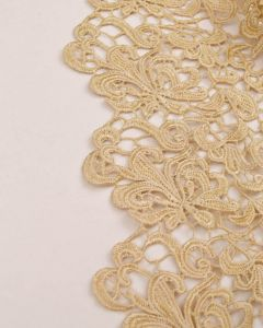 Polyester Guipure Lace Fabric - Pale Gold Floral