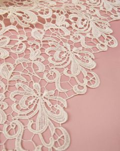 Polyester Guipure Lace Fabric - Ivory Floral