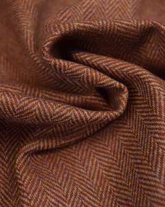 Pure Wool Donegal Tweed Fabric - Brown Herringbone