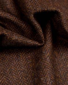 Pure Wool Donegal Tweed Fabric - Dark Brown Herringbone
