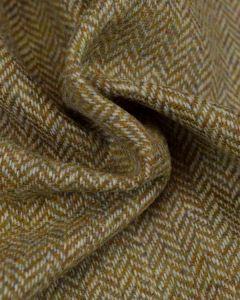 Pure Wool Donegal Tweed Fabric - Pale Olive Herringbone
