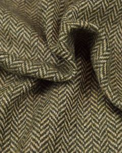Pure Wool Donegal Tweed Fabric - Moss Green Herringbone