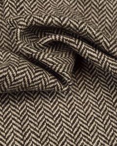Pure Wool Donegal Tweed Fabric - Brown & Ivory Herringbone