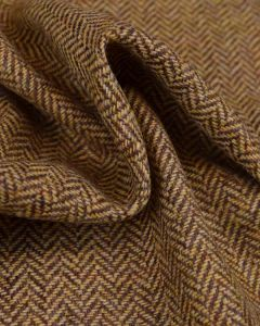 Pure Wool Donegal Tweed Fabric - Mustard Herringbone