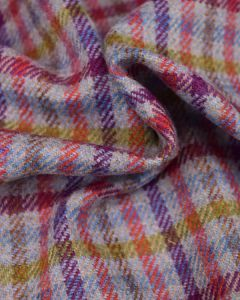 Pure Wool Donegal Tweed Fabric - Multi Check