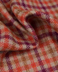 Pure Wool Donegal Tweed Fabric - Orange & Purple Check