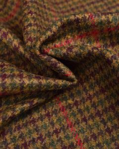 Pure Wool Donegal Tweed Fabric - Green & Red Houndstooth Check