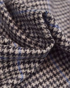 Pure Wool Donegal Tweed Fabric - Grey & Blue Houndstooth Check