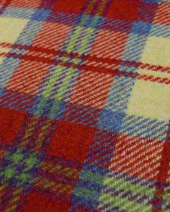 Pure Wool Donegal Tweed Fabric - Red & Blue Plaid