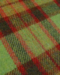 Pure Wool Donegal Tweed Fabric - Green & Brown Plaid