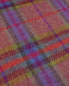 Pure Wool Donegal Tweed Fabric - Pink & Green Plaid