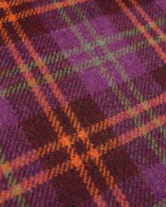 Pure Wool Donegal Tweed Fabric - Purple & Orange Plaid