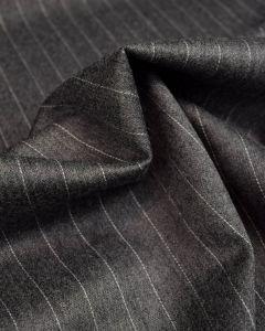 Virgin Wool Suiting Fabric - Mid Grey Pinstripe