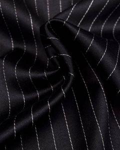 Virgin Wool Suiting Fabric - Black Pinstripe