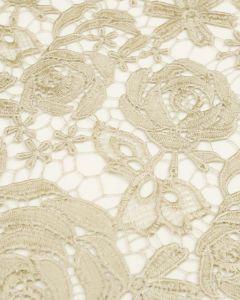 REMNANT Guipure Lace Pale Gold Floral - 70cm x 130cm