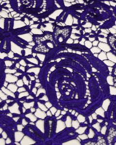 Polyester Guipure Lace Fabric - Purple Floral