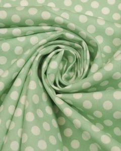 Cotton Poplin Fabric - Mint Polka Dot