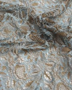 Corded Lace Fabric - Duck Egg & Brown