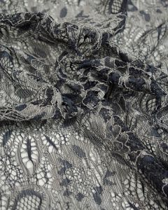 Corded Lace Fabric - Gunmetal & Silver