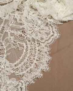 Floral Lace Tulle Fabric - Cream
