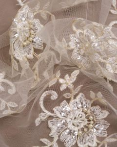 Lace Tulle Fabric - Cream & Gold Floral