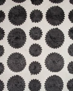 Floral Appliqué Tulle Fabric - Black