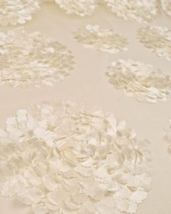 Floral Appliqué Tulle Fabric - Cream