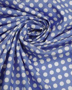 Cotton Poplin Fabric - Blue Polka Dot