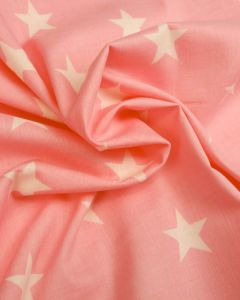 Large Star Print Cotton Fabric - White on Baby Pink