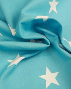 Large Star Print Cotton Fabric - White on Turquoise