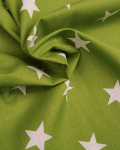 Large Star Print Cotton Fabric - White on Olive Green