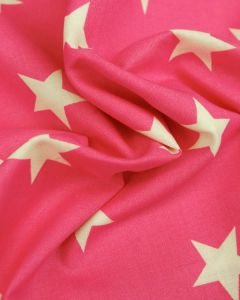 Large Star Print Cotton Fabric - White on Hot Pink
