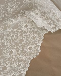 Polyester Organza Fabric - Embroidered Flowers in White