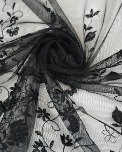 Embroidered Tulle Fabric - Ditsy Floral Black