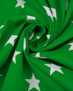Large Star Print Cotton Fabric - White on Green